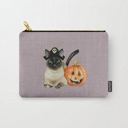 Halloween Siamese Cat with Jack O' Lantern Carry-All Pouch