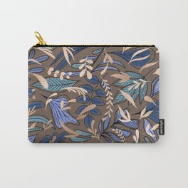 Blue Gold Espresso Floral Leaves Pattern Carry-All Pouch