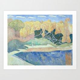 Émile Bernard - Woman Walking on the Banks of the Aven Art Print