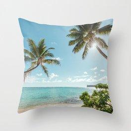 Secret Beach in Hawaii Throw Pillow