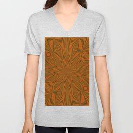 Autumnal Leaves Red Green and Amber Abstract Kaleidoscope Unisex V-Neck