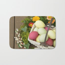 Easter Eggs in Basket - Cafe or Restaurant Decor Bath Mat