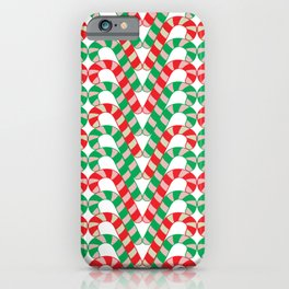 Christmas (mint stripe) candy cane knit seamless repeat pattern in red, green, pink, mint and white iPhone Case
