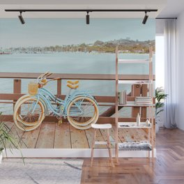 Two retro bicycles standing on Santa Barbara pier, California, USA. Vintage filter with muted teal blue and orange colors. Wall Mural