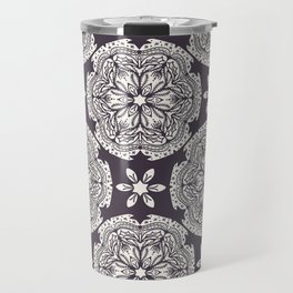 Hand drawn abstract Christmas flower pattern. Travel Mug