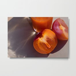 Fresh ripe persimmon and fruit drink in the sun Metal Print