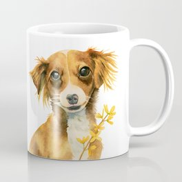 Signs of Spring | Cute Dog with Forsythia Watercolor Painting Coffee Mug