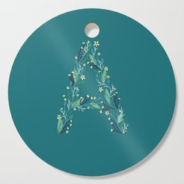 Turquoise flowers alphabet A Cutting Board