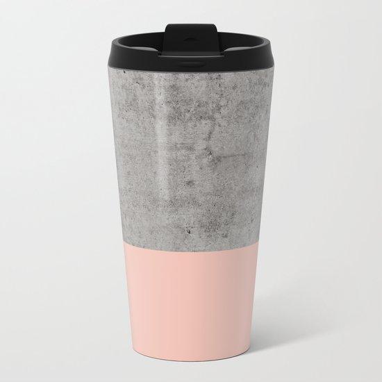 Pale Pink on Concrete Metal Travel Mug