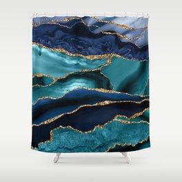 Ocean Blue Mermaid Marble Shower Curtain