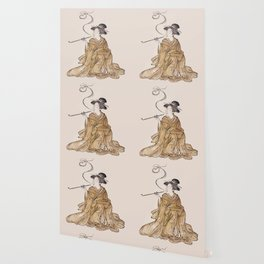 Vintage Oriental Antique Japan Smoking Lady Wallpaper
