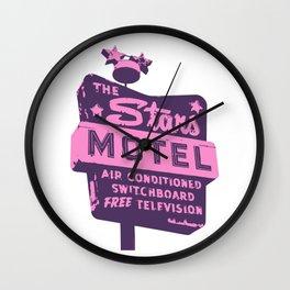 Seeing Stars ... Motel ... (Purple/Pink Sign) Wall Clock