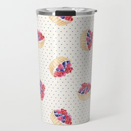 Vintage lavender pink ivory polka dots berries pie pattern Travel Mug