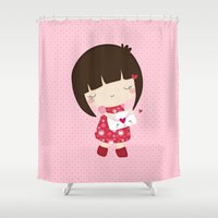 valentine Shower Curtains featuring Valentine by Missbonbon
