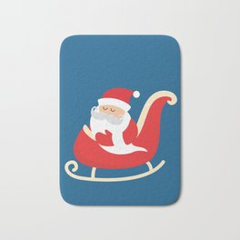 Merry Christmas Santa Claus Flying in his Sleigh Bath Mat