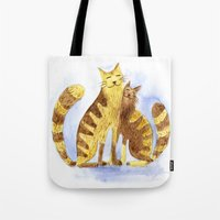cats Tote Bags featuring Cats by Anna Shell