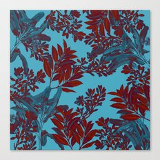 Blue Forest and Red Leaves Canvas Print