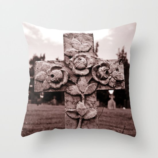 Cross of roses Throw Pillow