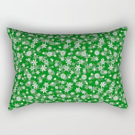 Festive Green and White Christmas Holiday Snowflakes Rectangular Pillow