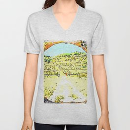 Pieve di Tho: arch of the bridge and countryside landscape Unisex V-Neck