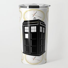 Tardis on the word Travel Mug