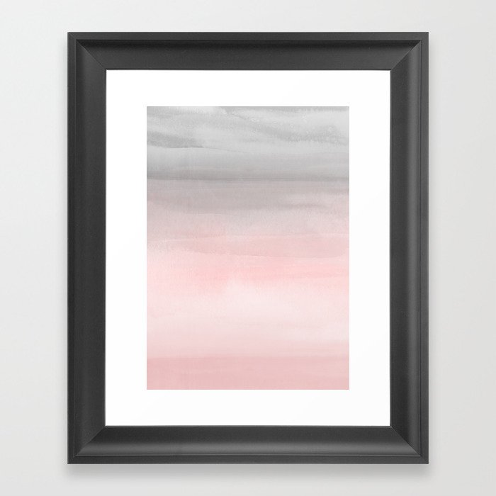 Blushing Pink & Grey Watercolor Gerahmter Kunstdruck
