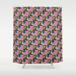 Flag and portrait:  Abraham Lincoln Shower Curtain