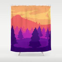 8-bit sunset Shower Curtain