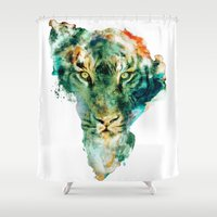 wildlife Shower Curtains featuring African Wildlife by RIZA PEKER