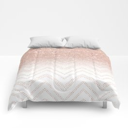 Modern faux rose gold glitter ombre modern chevron stitches pattern Comforters