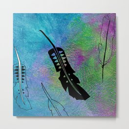 French Kissed Textured Feathers Metal Print