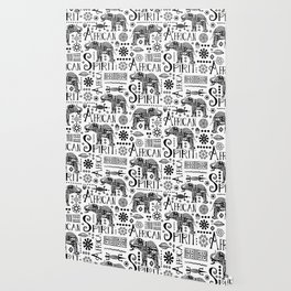 Africa Style Elephant Black And White Tribal Pattern Wallpaper