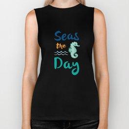 Seas The Day Funny Sea Horse Cruising In Ocean Biker Tank
