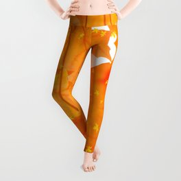 Fall Orange Maple Leaves On A White Background #decor #society6 #buyart Leggings