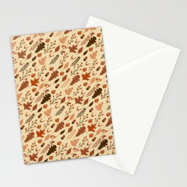 Autumn Leaves and Ladybugs Pattern Stationery Cards