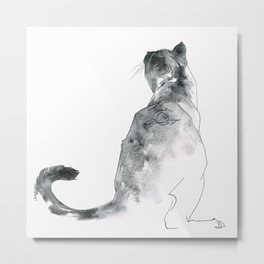 Cat at the Windowsill Metal Print