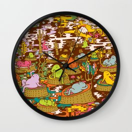 monks into the wood Wall Clock