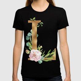 Initial Letter L floral lettering T-shirt