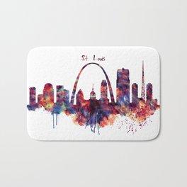St Louis Watercolor Skyline Bath Mat