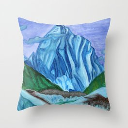 Snow peak above the clouds Throw Pillow