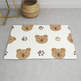 Brown doodle paw print and teddy bear white Rug