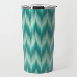 Bargello Pattern in Teal and Turquoise Travel Mug