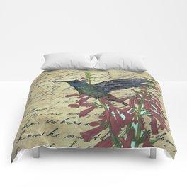 Hummingbird with Fire Flower Comforters
