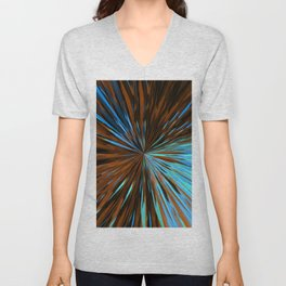 psychedelic splash painting abstract pattern in brown and blue Unisex V-Neck