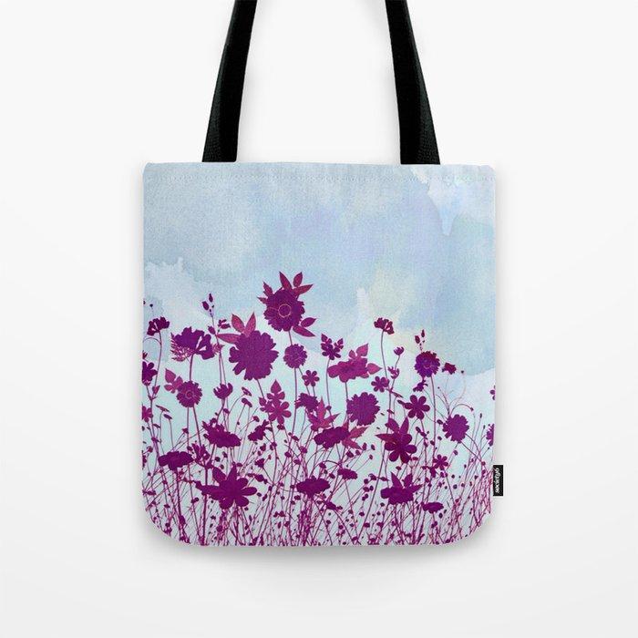 wild little flowers against watercolor sky Tote Bag