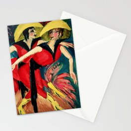 Cabaret dancers in red painting by Ernst Ludwig Kirchner Stationery Cards