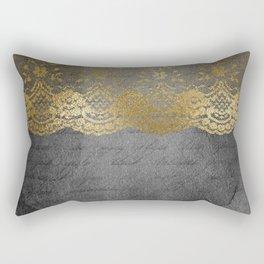 Pure elegance I- gold glitter luxury lace on black grunge background Rectangular Pillow