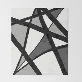 Geometric Line Abstract - Black Gray White Throw Blanket