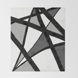 Geometric Line Abstract - Black Gray White Throw Blanket