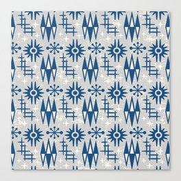 Mid Century Modern Atomic Space Age Pattern Blue Grey Canvas Print